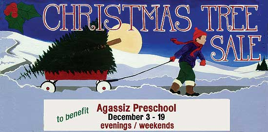 Tree and wreath sale at Agassiz Preschool